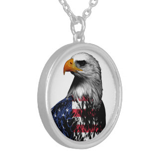 American Bald Eagle draped in the Flag of the USA Silver Plated Necklace