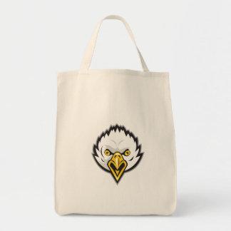 American Bald Eagle Head Screaming Retro Grocery Tote Bag