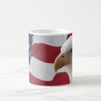 American Bald Eagle on Flag Coffee Mug