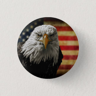 American Bald Eagle on Grunge Flag 3 Cm Round Badge