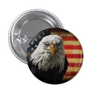 American Bald Eagle on Grunge Flag 3 Cm Round Badge