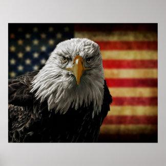 American Bald Eagle on Grunge Flag Poster