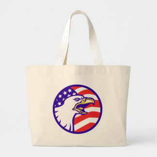American Bald eagle screaming with USA flag Bags