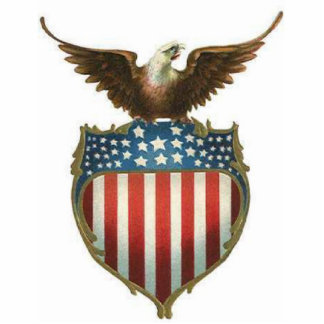 American Bald Eagle, stars & stripe atop of shield Standing Photo Sculpture