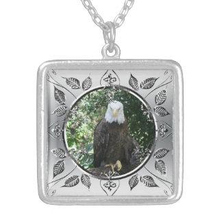 American Bald Eagle Wildlife Photo Square Pendant Necklace