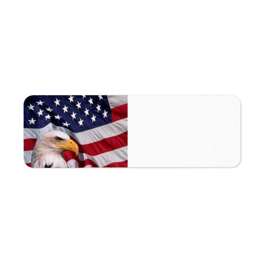 American Bald Eagle with Flag Background Return Address Label