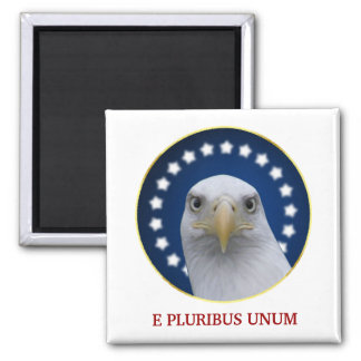 American Bald Eagle With Stars Square Magnet