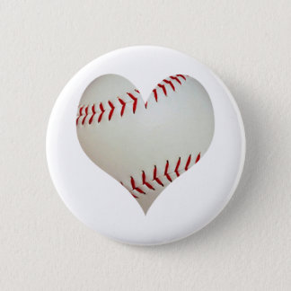 American Baseball In A Heart Shape 6 Cm Round Badge