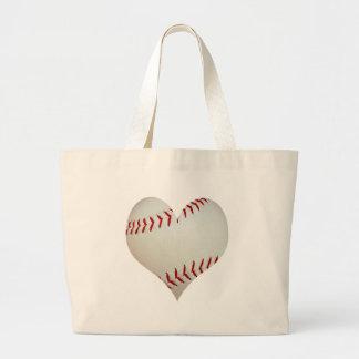 American Baseball In A Heart Shape Large Tote Bag