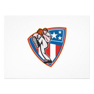 American Baseball Pitcher Shield Personalised Invite