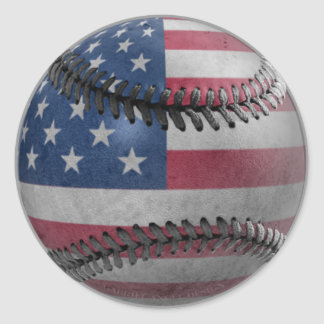 American Baseball Round Sticker