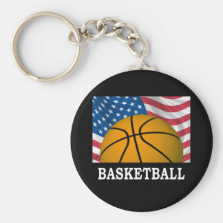 American Basketball Basic Round Button Key Ring