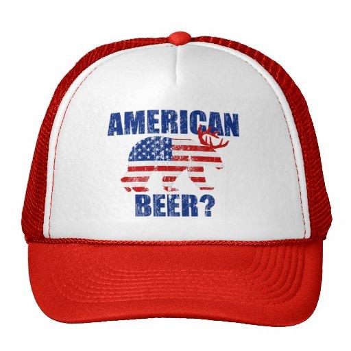 American Beer?  US Flag Bear Deer Distressed Hat