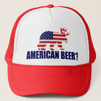 American Beer?  US Flag Bear With Antlers Hat