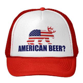 American Beer?  US Flag Bear With Antlers Hat Trucker Hat