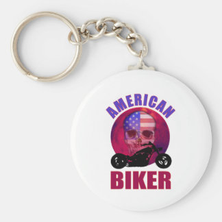 American Biker Skull Chop Basic Round Button Key Ring