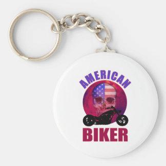 American Biker Skull Chop Basic Round Button Key Ring