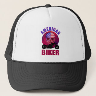 American Biker Skull Chop Trucker Hat