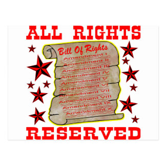 American Bill Of Rights All Rights Reserved Postcard