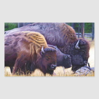 American Bison Family Rectangular Sticker