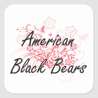 American Black Bears with flowers background Square Sticker