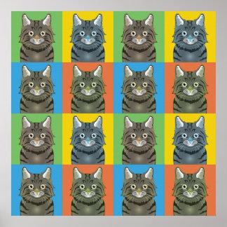 American Bobtail Cat Cartoon Pop-Art Print
