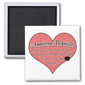 American Bobtail Paw Prints Cat Humor Square Magnet