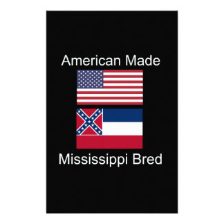 """American Born..Mississippi Bred"" Flag Design Personalised Stationery"