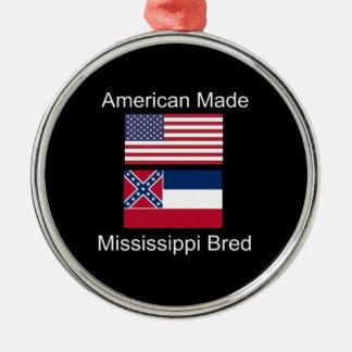 """American Born..Mississippi Bred"" Flag Design Silver-Colored Round Decoration"