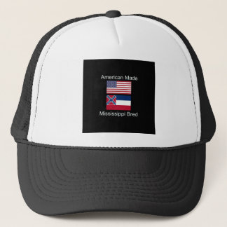 """""""American Born..Mississippi Bred"""" Flag Design Trucker Hat"""