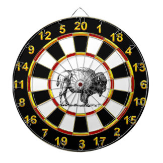 American Buffalo Bison an gold foil plated numbers Dartboard