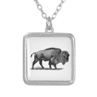 American Buffalo Square Pendant Necklace