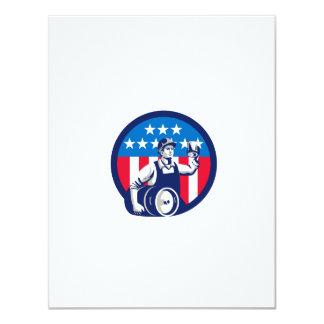 American Builder Beer Keg Flag Circle Retro 11 Cm X 14 Cm Invitation Card