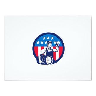 American Builder Beer Keg Flag Circle Retro 17 Cm X 22 Cm Invitation Card