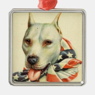 American Bull Terrier, Antique Postcard circa WWI Silver-Colored Square Decoration