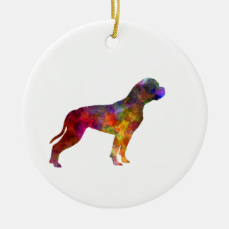 American Bulldog 01 in watercolor 2 Round Ceramic Decoration