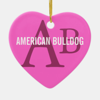American Bulldog Breed Monogram Ceramic Heart Decoration