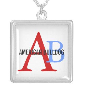 American Bulldog Breed Monogram Square Pendant Necklace