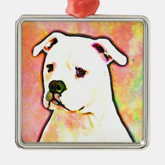 American Bulldog Pop Art Portrait Christmas Ornament