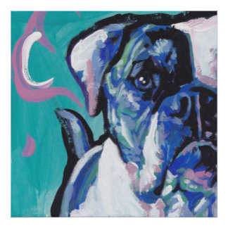 american bulldog pop dog art poster