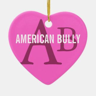 American Bully Breed Monogram Ceramic Heart Decoration