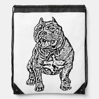 American Bully dog Drawstring Bag