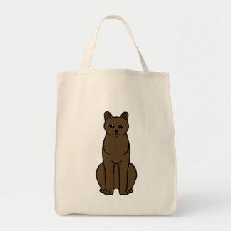 American Burmese Cat Cartoon Grocery Tote Bag