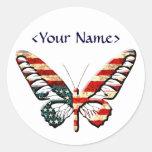 American Butterfly Round Sticker