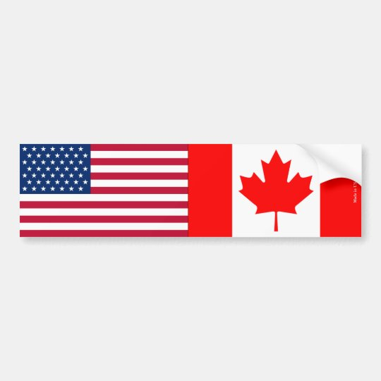 American & Canadian Flags Bumper Sticker