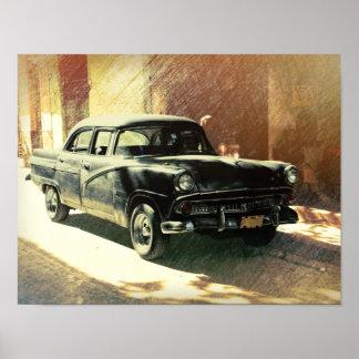 American car in Havana, Cuba art poster