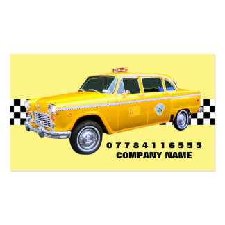 American Cartoon Style Yellow Taxi Cab And Strip Pack Of Standard Business Cards