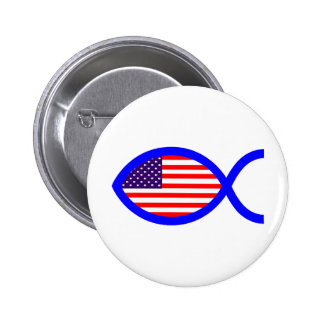 American Christian Fish Symbol Flag Buttons
