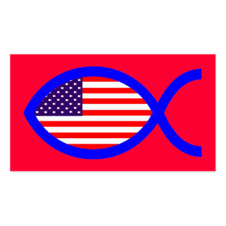American Christian Fish Symbol Flag Business Cards