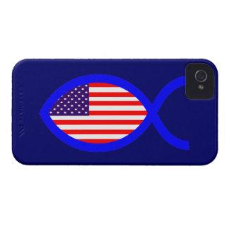 American Christian Fish Symbol Flag iPhone 4 Case-Mate Case